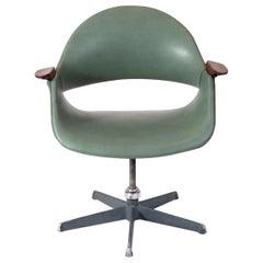 Arthur Umanoff Green Leather Swivel Chair
