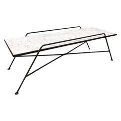 Arthur Umanoff Marble and Iron Coffee Table