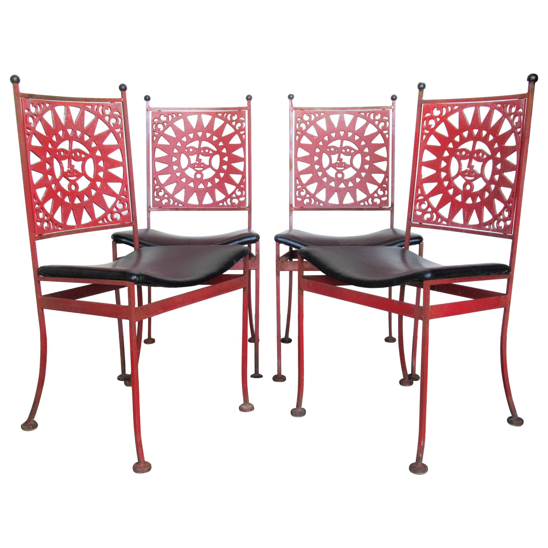 Arthur Umanoff Mayan Sun Design Iron Chairs