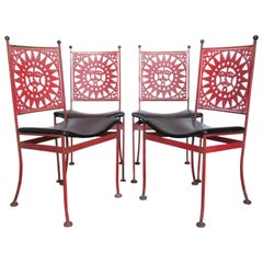 Arthur Umanoff Mayan Sun Design Iron Chairs