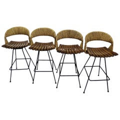 Arthur Umanoff Mid-Century Modern Raffia Backed Swivel Barstools for Raymor