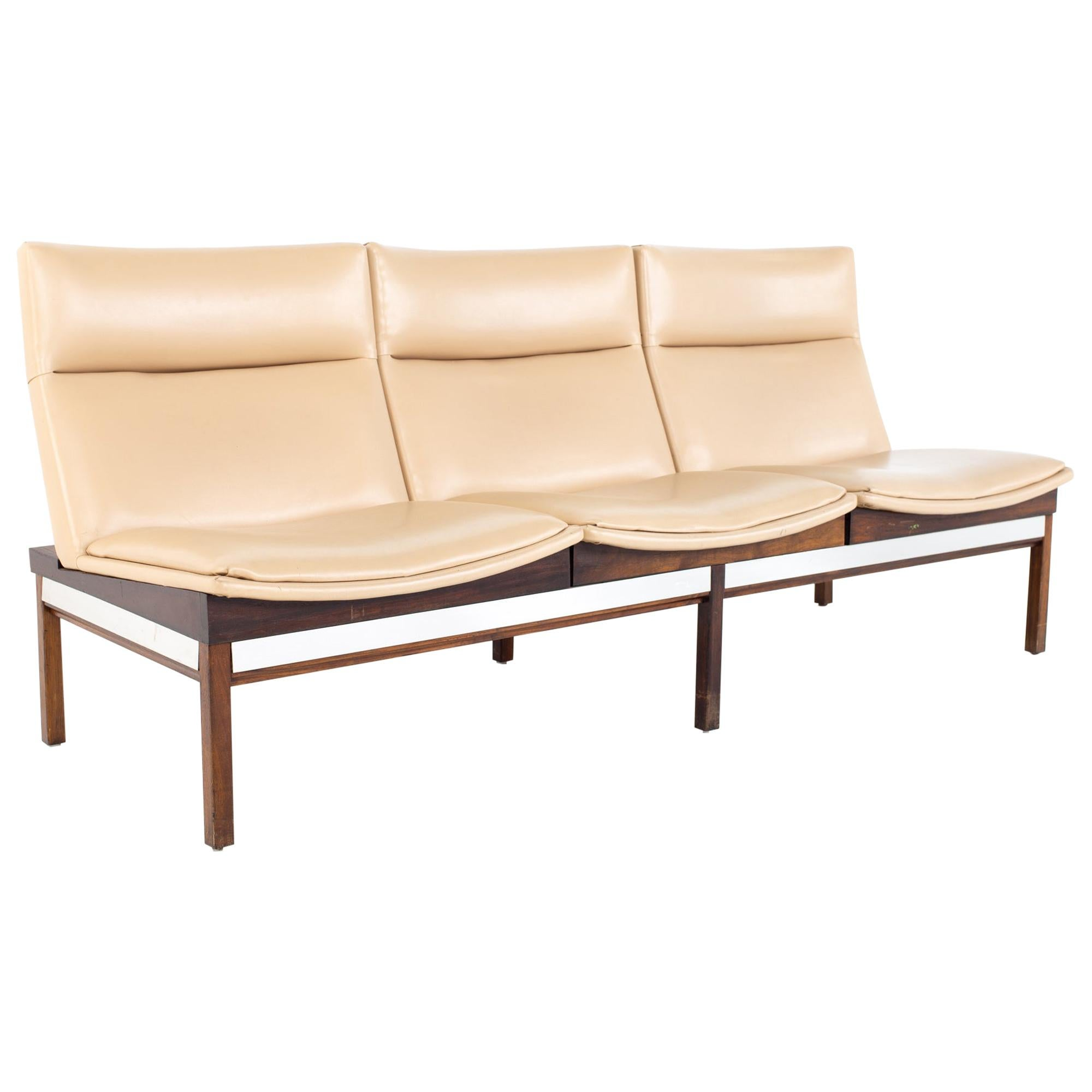 Arthur Umanoff Mid Century Walnut and Stainless Three Seat Sofa Bench