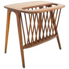 Arthur Umanoff Mid Century Walnut Magazine Rack Side Table