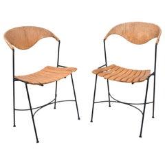 Arthur Umanoff Pair of Wood Slat Wrought Iron Dining Chairs, 1950s