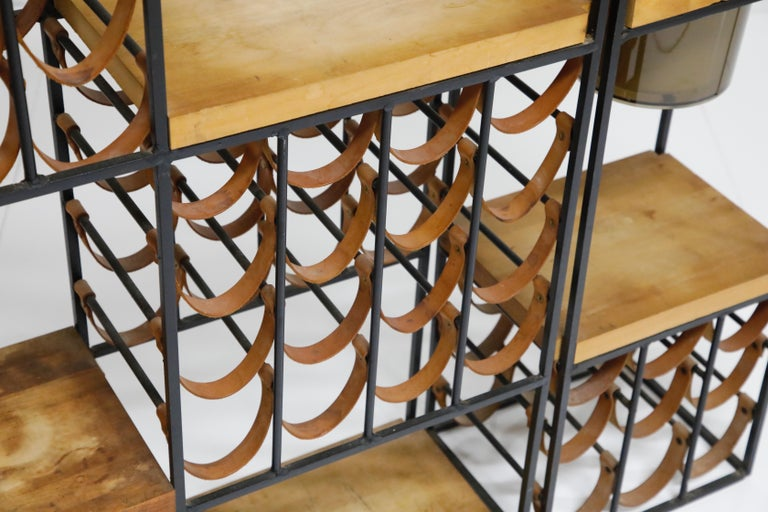 Arthur Umanoff Room Divider with Leather Wine Racks and Butcher Blocks, 1950s 8