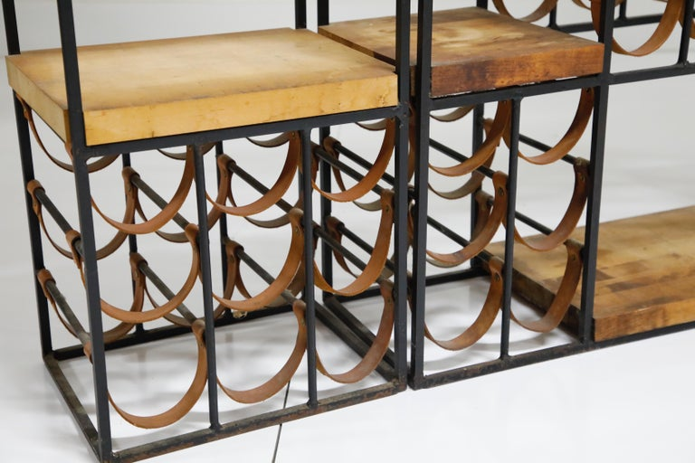 Arthur Umanoff Room Divider with Leather Wine Racks and Butcher Blocks, 1950s 10