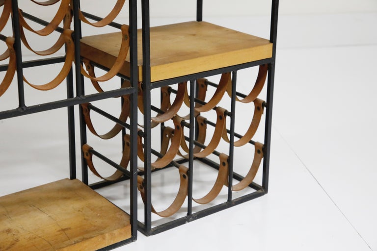 Arthur Umanoff Room Divider with Leather Wine Racks and Butcher Blocks, 1950s 11