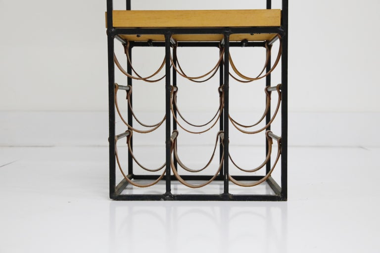 Arthur Umanoff Room Divider with Leather Wine Racks and Butcher Blocks, 1950s 14