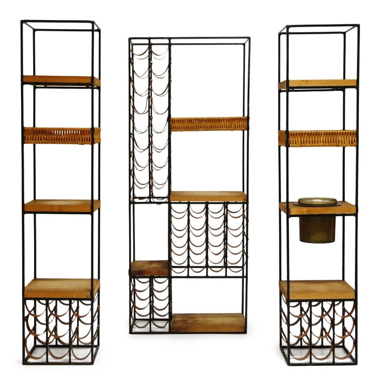 Mid-Century Modern Arthur Umanoff Room Divider with Leather Wine Racks and Butcher Blocks, 1950s