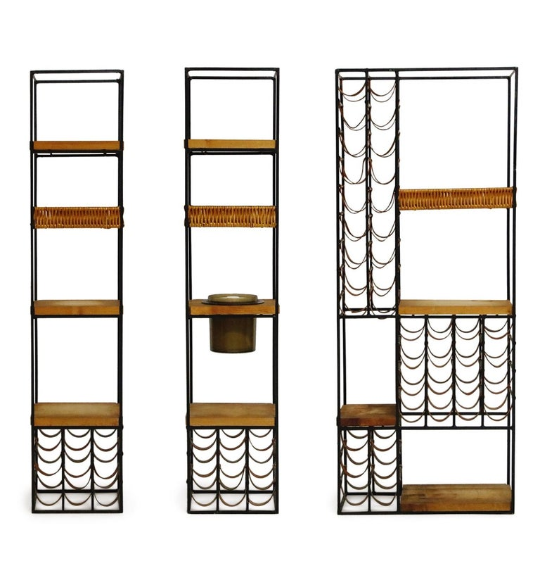 American Arthur Umanoff Room Divider with Leather Wine Racks and Butcher Blocks, 1950s