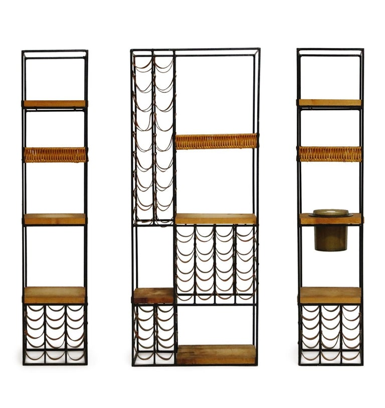 Arthur Umanoff Room Divider with Leather Wine Racks and Butcher Blocks, 1950s In Good Condition In Los Angeles, CA