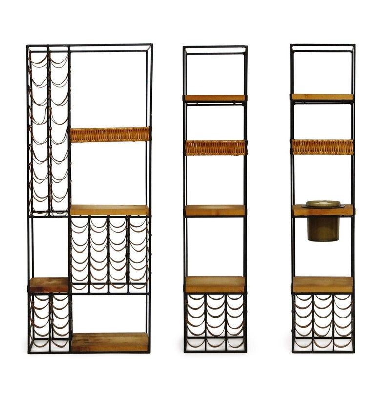 Mid-20th Century Arthur Umanoff Room Divider with Leather Wine Racks and Butcher Blocks, 1950s