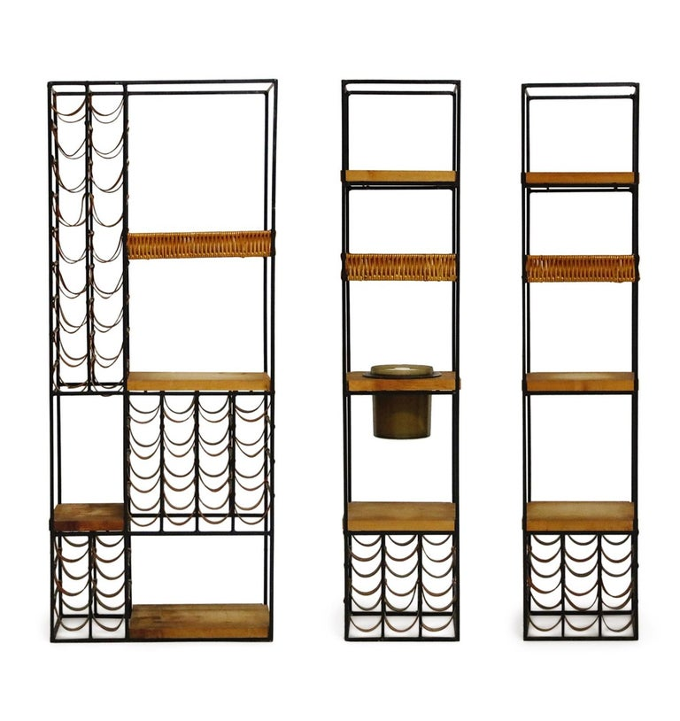 Arthur Umanoff Room Divider with Leather Wine Racks and Butcher Blocks, 1950s 1