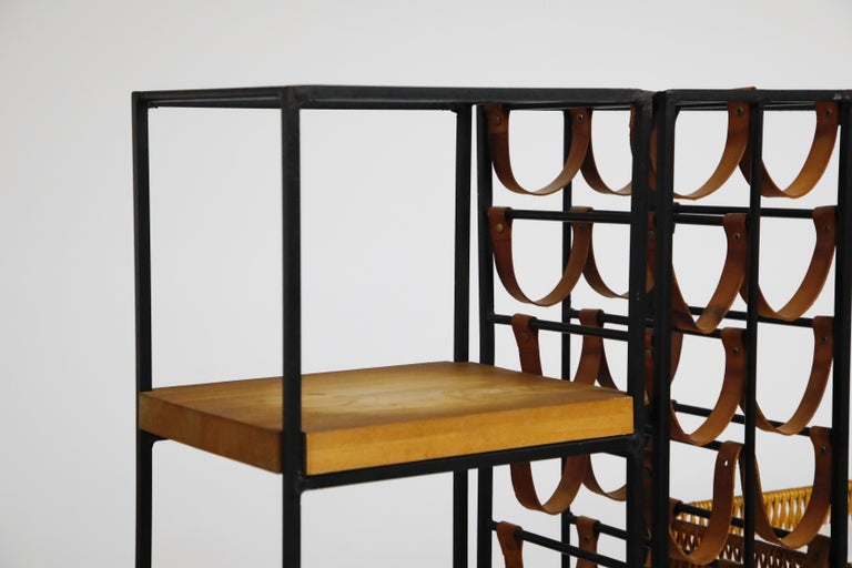 Arthur Umanoff Room Divider with Leather Wine Racks and Butcher Blocks, 1950s 2