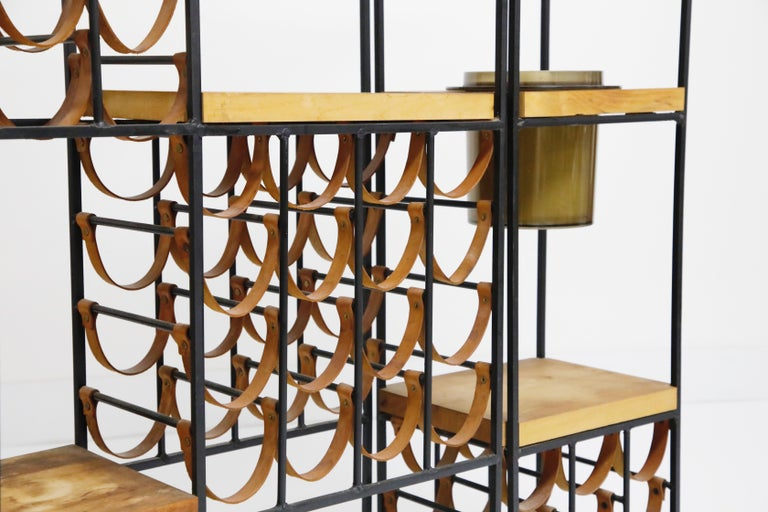 Arthur Umanoff Room Divider with Leather Wine Racks and Butcher Blocks, 1950s 3
