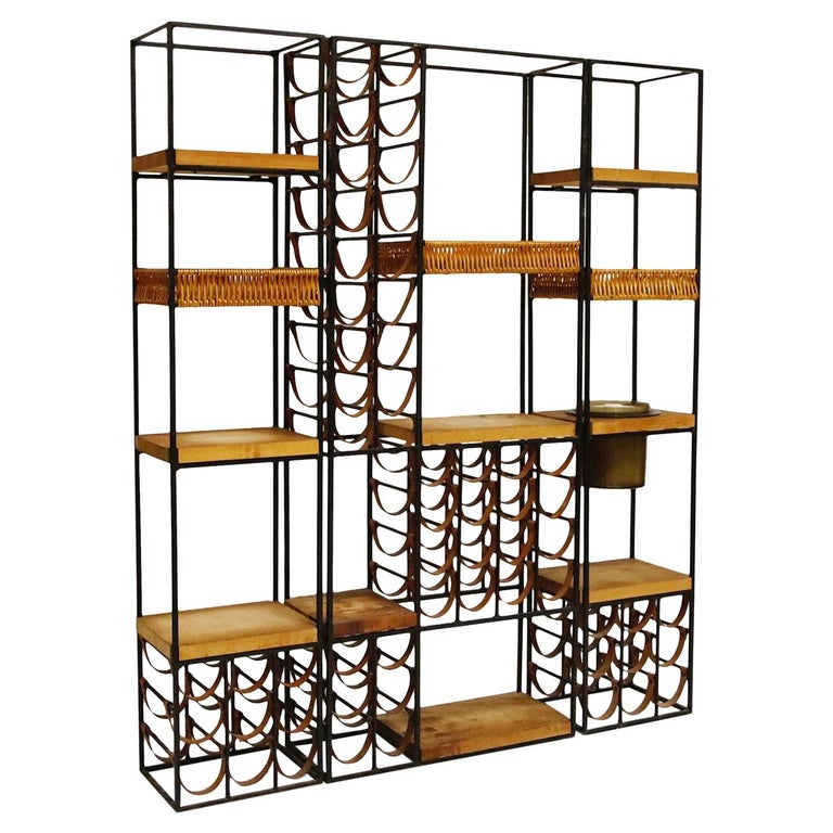 Arthur Umanoff Room Divider with Leather Wine Racks and Butcher Blocks, 1950s