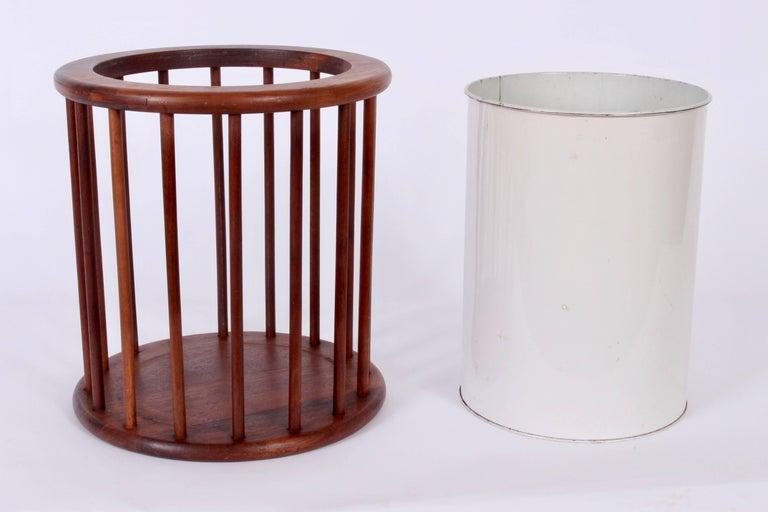 Mid-Century Modern Arthur Umanoff Round Spindle Walnut Waste Basket, Circa 1960 For Sale