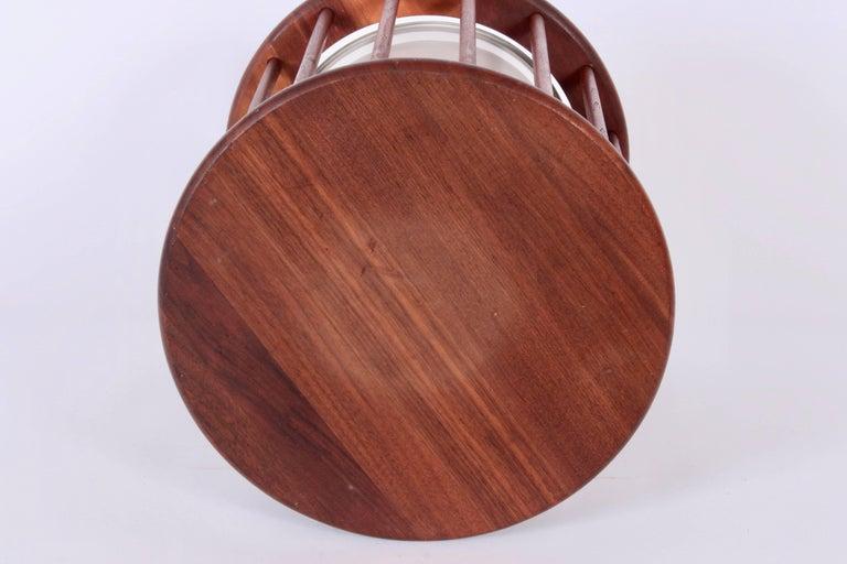 American Arthur Umanoff Round Spindle Walnut Waste Basket, Circa 1960 For Sale