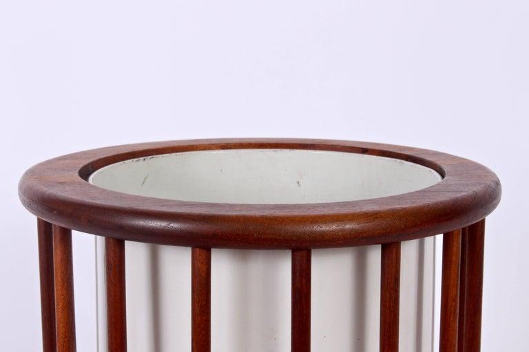 Enameled Arthur Umanoff Round Spindle Walnut Waste Basket, Circa 1960 For Sale