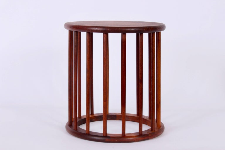 Arthur Umanoff Round Spindle Walnut Waste Basket, Circa 1960 In Good Condition For Sale In Bainbridge, NY