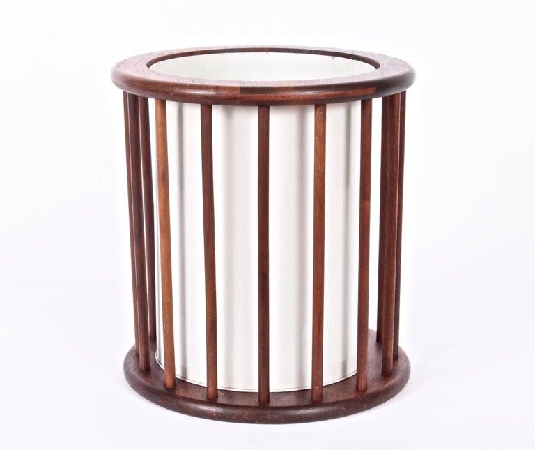 Mid-20th Century Arthur Umanoff Round Spindle Walnut Waste Basket, Circa 1960 For Sale