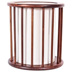 Arthur Umanoff Round Spindle Walnut Waste Basket, Circa 1960