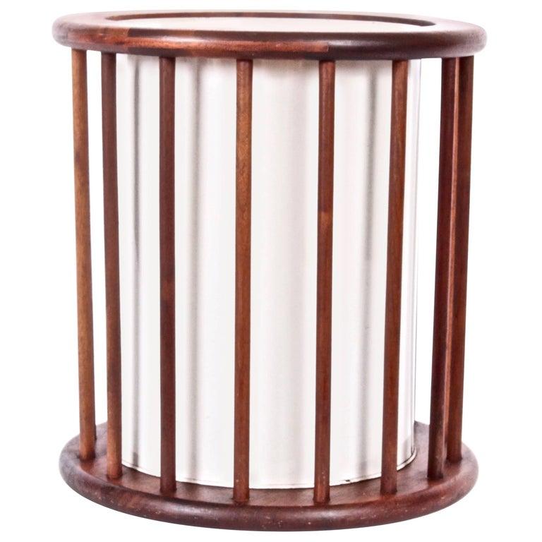 Arthur Umanoff Round Spindle Walnut Waste Basket, Circa 1960 For Sale