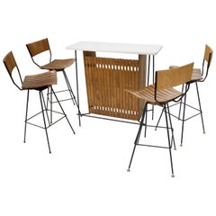 Arthur Umanoff Set of 4 Rattan Wrought Iron Bar Stools with Matching Bar