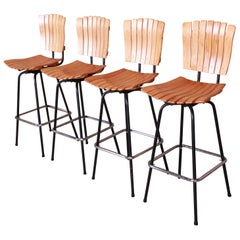 Arthur Umanoff Style Mid-Century Modern Swivel Bar Stools, Set of Four