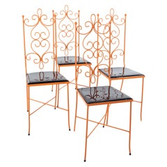 Arthur Umanoff Style Mid Century Orange Metal Dining Chairs, Set of 4