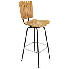 Arthur Umanoff Style Mid Century Wood and Metal Barstool