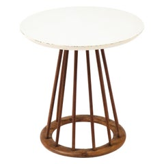 Arthur Umanoff Walnut & Laminate Spindle End Table, USA, 1960's