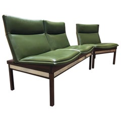 Arthur Umanoff Walnut Modular Sofa and Chair Set