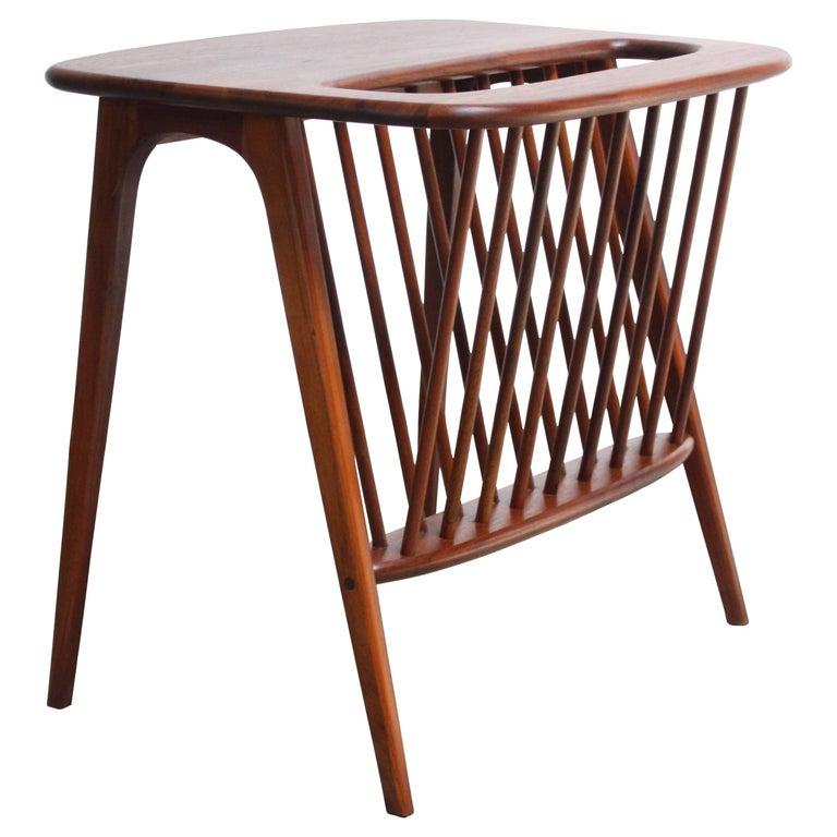 Arthur Umanoff Walnut Occasional Table With Magazine Rack For