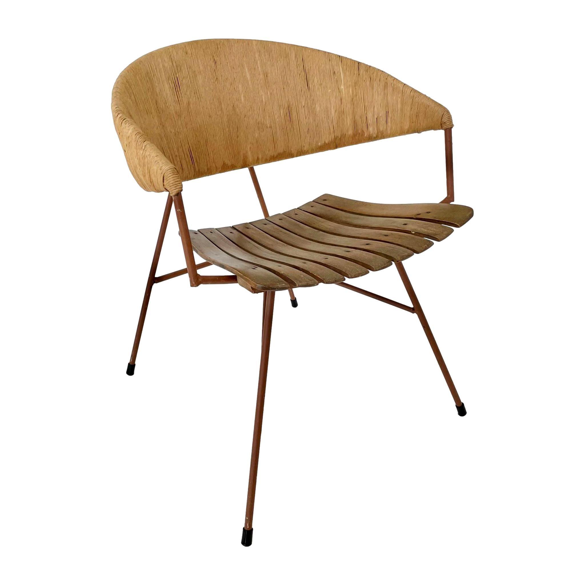 Arthur Umanoff Wood and Rush Captain's Chair