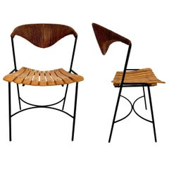 Arthur Umanoff Wood and Rush Sculptural Chairs