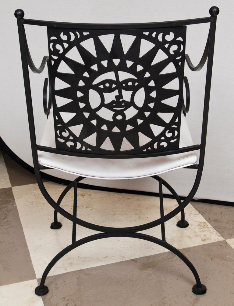 Arthur Umanoff Wrought Iron Sun Table and Four Chairs For Sale 7