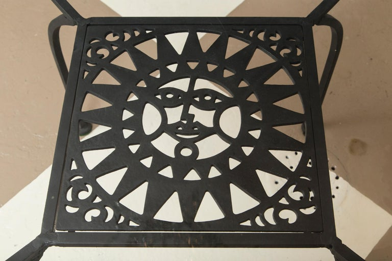 Arthur Umanoff Wrought Iron Sun Table and Four Chairs In Excellent Condition For Sale In Stamford, CT