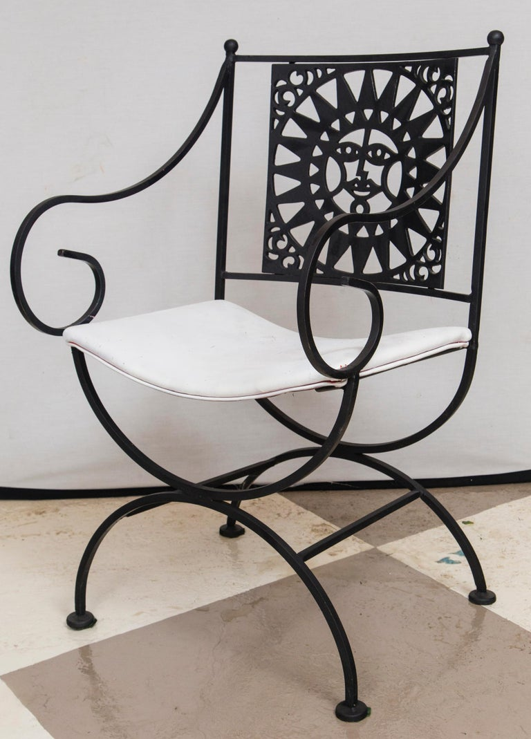 Arthur Umanoff Wrought Iron Sun Table and Four Chairs For Sale 1