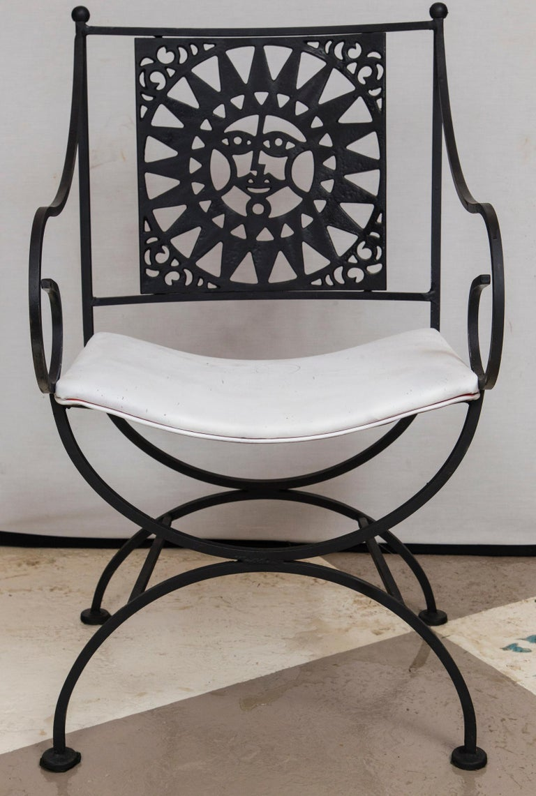 Arthur Umanoff Wrought Iron Sun Table and Four Chairs For Sale 2