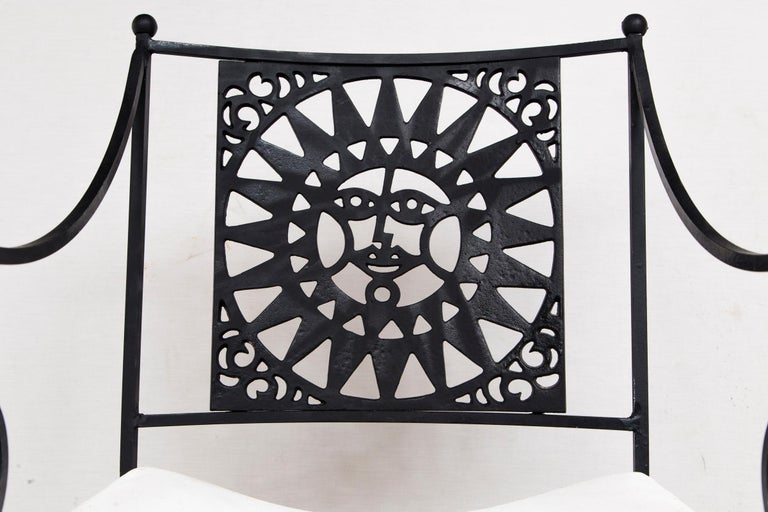 Arthur Umanoff Wrought Iron Sun Table and Four Chairs For Sale 3