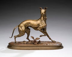"""Bronze Dog """"Whippet with a Butterfly"""" by Arthur Waagen (1833-1898) 1 of 2"""