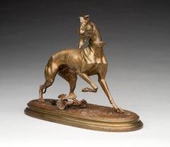 """Whippet with a Butterfly""- Bronze Dog Figure- Arthur Waagen (1833-1898) 2 of 2"