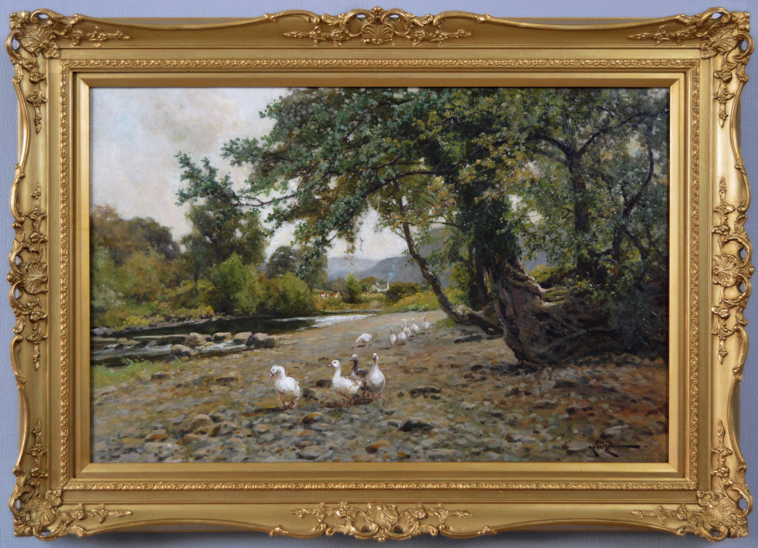 19th Century landscape oil painting of geese by a river