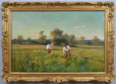 19th Century landscape oil painting of haymakers