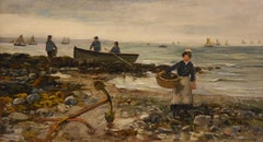 "Oil painting by Arthur Wellesley Cottrell ""Low Tide, Mumbles, South Wales"""