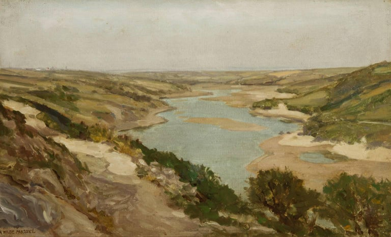 An excellent early 20th century English landscape oil by Arthur Wilde Parsons. Depicting a river view of the Gannel Estuary, England. Excellently presented in a decorative gold frame. Signed by the artist to the lower left, painted on canvas.  The