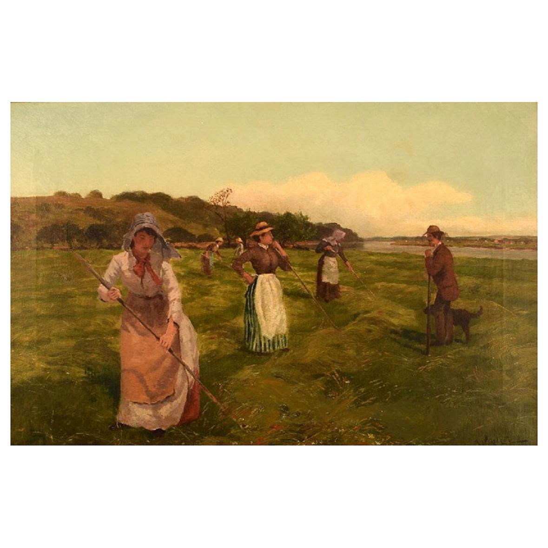 Arthur William Redgate, Oil on Canvas, Harvest Time, 1880's