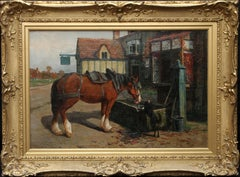 Farm Horse at Trough before a Tavern - British Victorian art animal oil painting