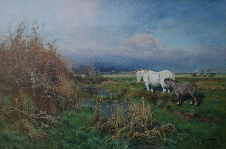 Nottingham Landscape - British 19thC art white horse oil painting equine art For Sale 1